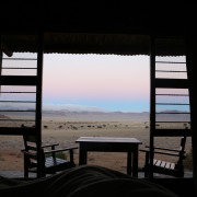 Sonnenaufgang vom Eagles View Chalet - Namibia