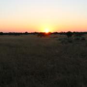 Sonnenuntergang voAusblick von der Terrasse des Standart Rooms im Okonjima Plain Camp
