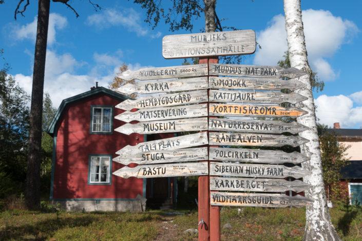 Wegweiser Murjek Lappland Schweden - Nahtzug Lappland Kungsleden Sarek