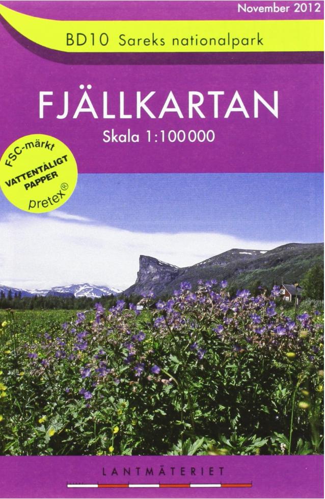 Fjällkarte Sarek Lappland