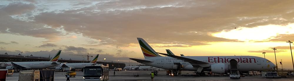 Ethiopian Airlines Flugzeuge auf dem Bole International Airport Addis Ababa