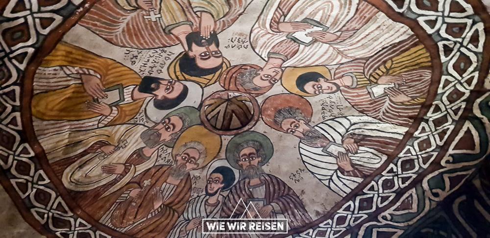 Deckengemälde in der Felsenkirche Abuna Yemata