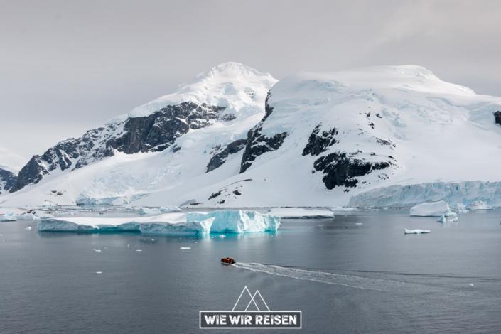 Zodiac auf dem Weg zur Anlandestelle auf Cuverville Island in der Antarktis